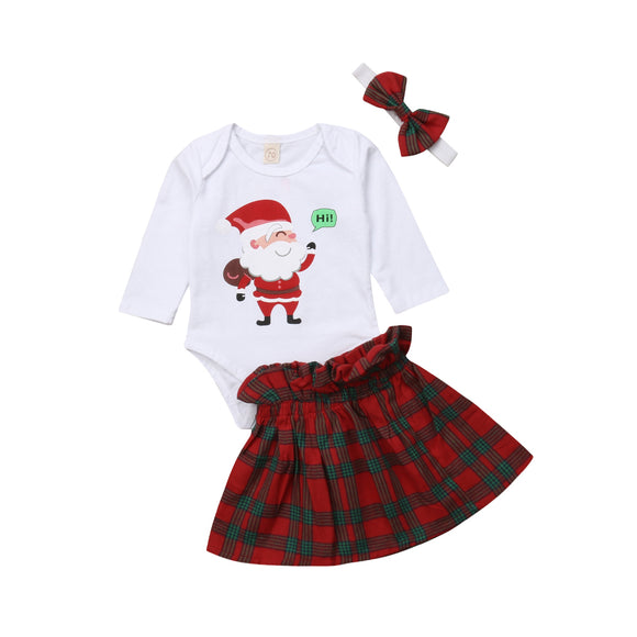 0-24M Baby Girl My 1st Christmas Outfits  Romper Plaid Tutu Skirt Headband Clothes Set