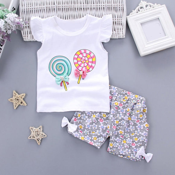 2pcs Set Summer Baby Girl Clothes Suit Fashion Casual Lollipop Printed Floral O-Neck T-shirt + Pants Set For Kids
