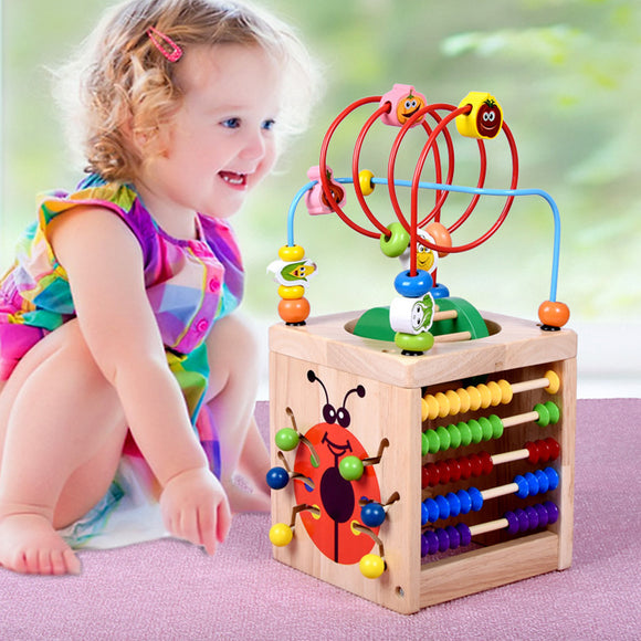 Baby Toys 6 in 1 Multi-function Wooden Around Bead Maze Shape Color Recognition Math Clock Chess Gear Cube Educational Toys