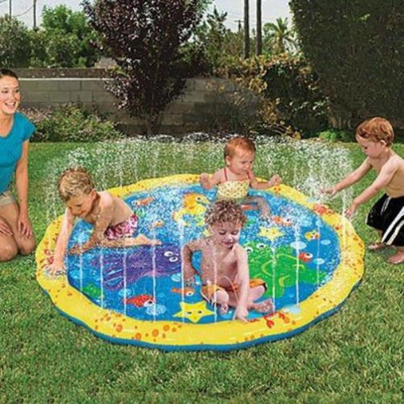 100cm Children's Outdoor Play Water Games Beach Mat Inflatable Sprinkler Cushion.