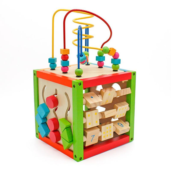 Wooden Learning Bead Maze Cube 5 In 1 Activity Center Educational Toy Educational Abacus And Number Game Wooden Cube Toy For Kid