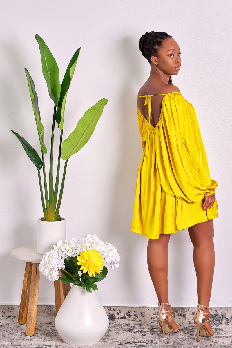 Feeling like a Goddess Chartreuse Flowy Off-Shoulder Dress