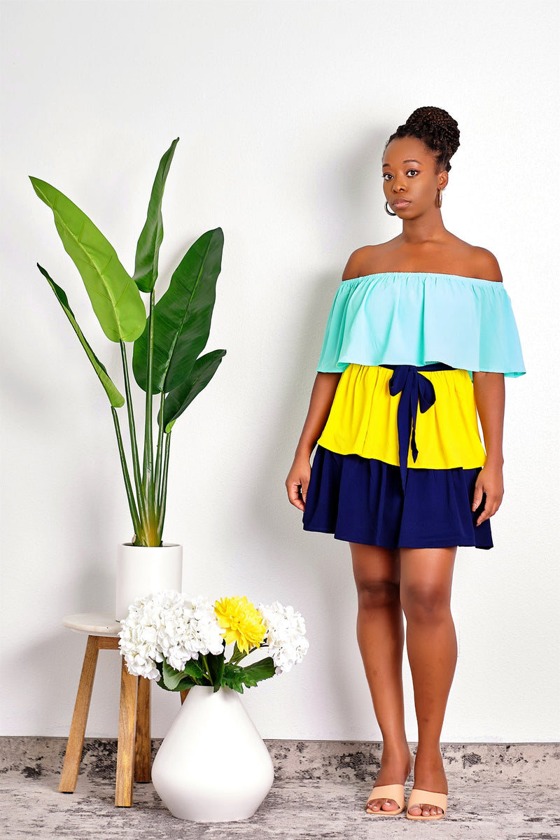 Shine Bright Tiered Color-Block Ruffle Mini Dress