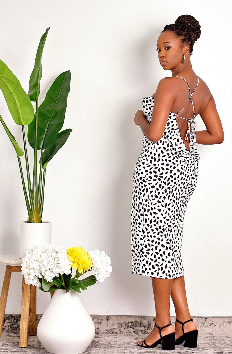Slip into It Cheetah Print Cowl Neck Midi Length Slip Dress