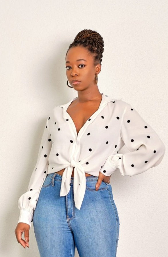 No More Questions Polka Dot Top with Tie Knot