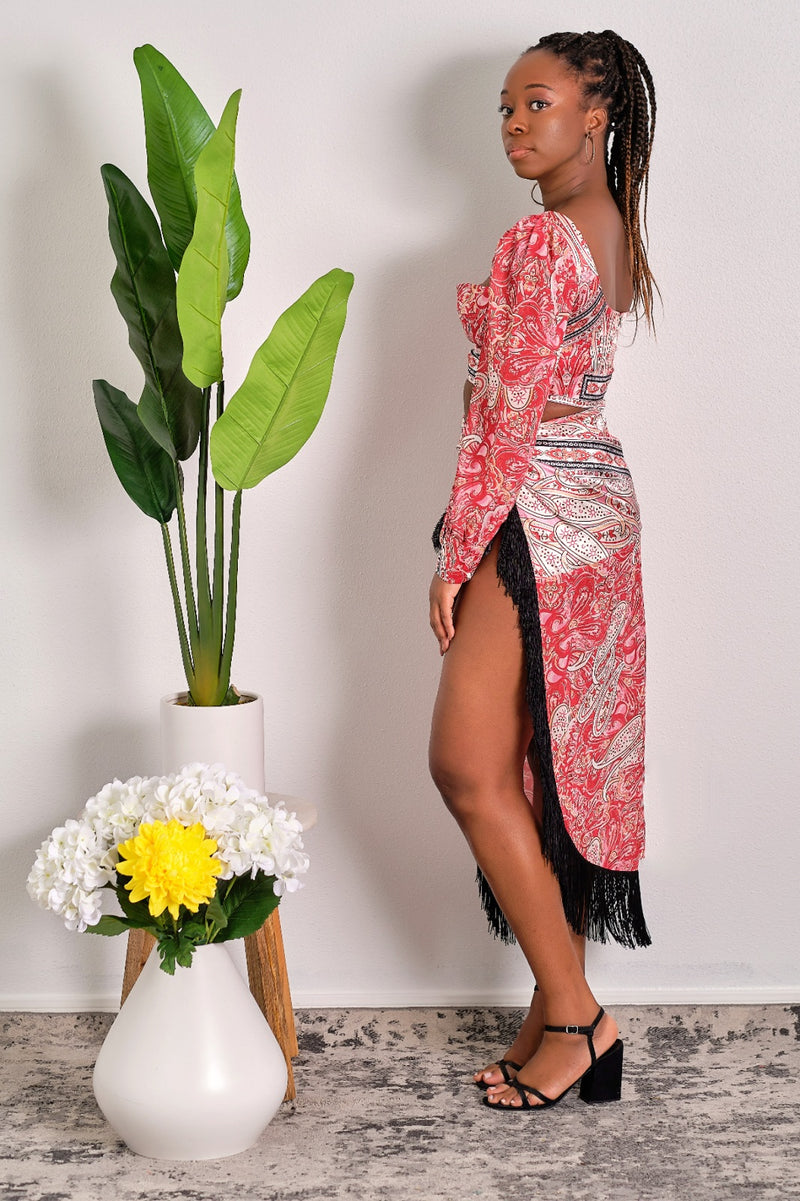 Only Yours Paisley Print Crop Top and Fringe Skirt Set