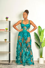 Such A Headturner Floral Lace Maxi Dress - Green