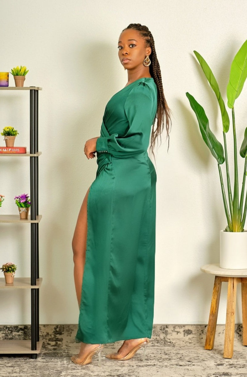 What a Showstopper Emerald Green Maxi Dress with High Slit