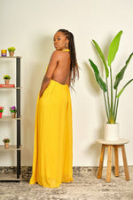Gotta Have It Backless Wide-Leg Halter Jumpsuit - Mustard