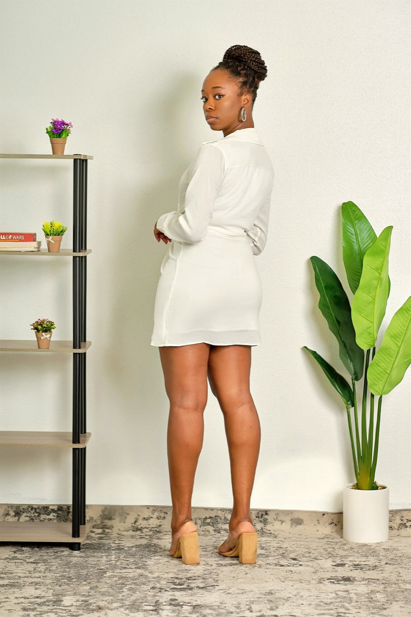 Got to be Me Long Sleeve Collared Little White Dress with Deep Plunge Neckline