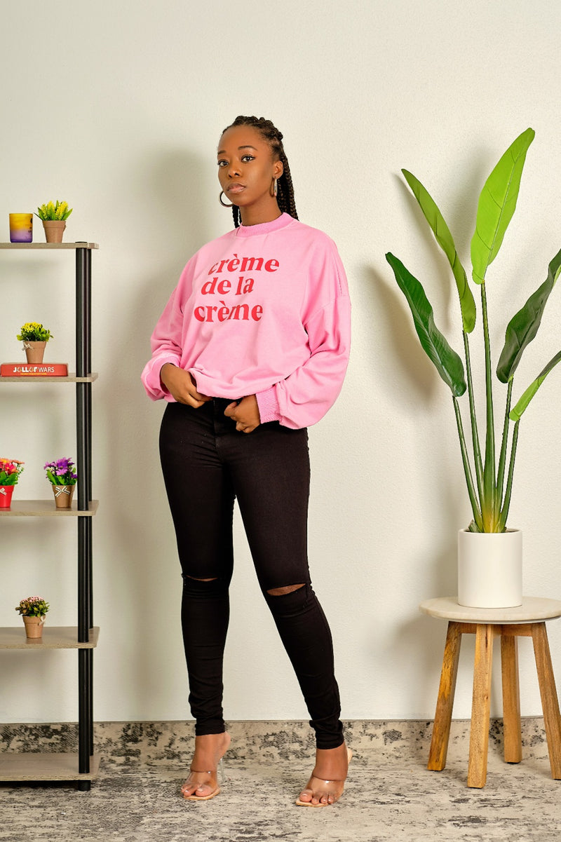 All About It Long Sleeved Sweatshirt - Pink