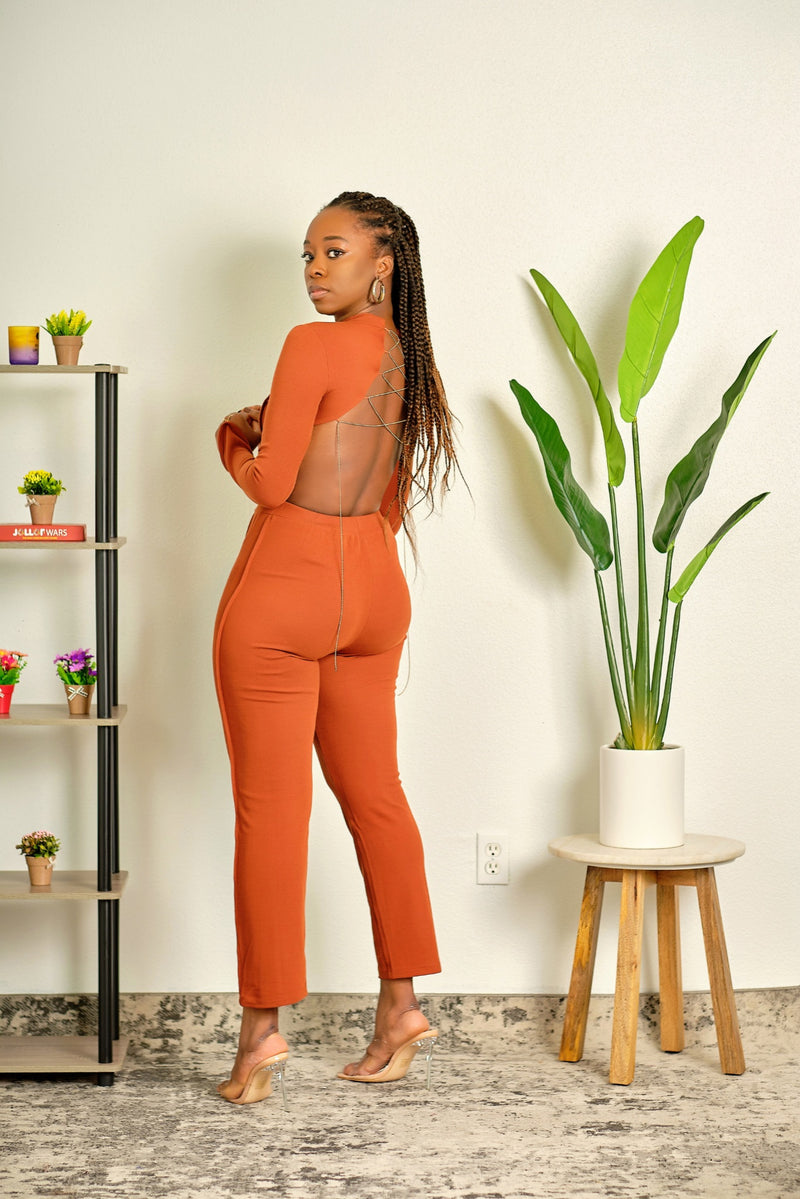 Look at Me Now Ribbed High Neck Crop Top and High Waisted Fitted Pant Set - Rust