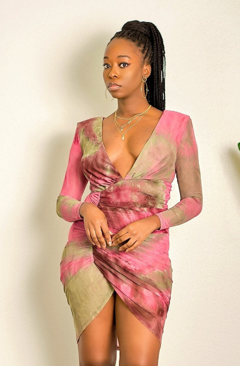 All Over the World Long Sleeve Tie-Dye Dress with Plunging Neckline