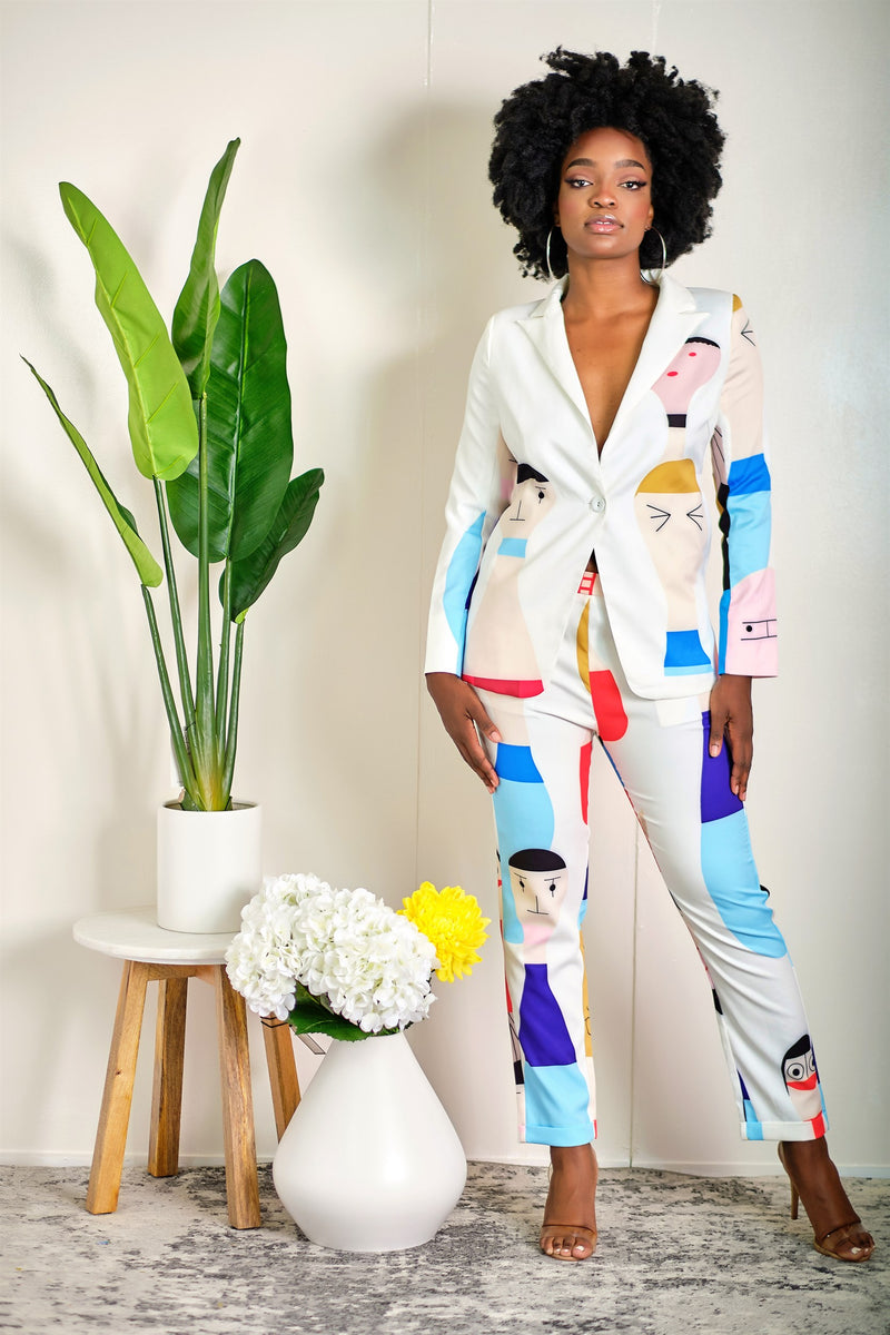 Funny Faces Abstract Print Blazer and Pant Set