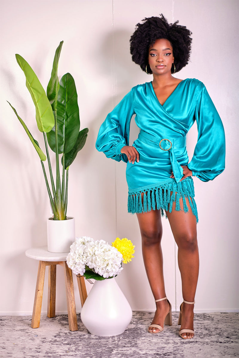 Too Hot to Handle Satin Bell Sleeve Dress with Fringe Detail