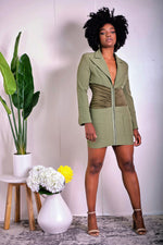Strut Your Stuff Green Blazer Corset Dress