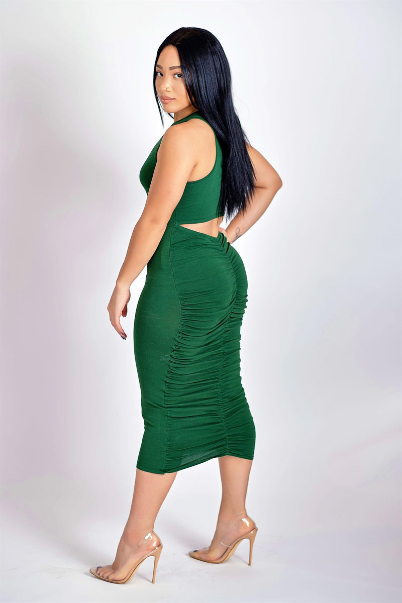 Talk About Stunning Midi Dress with Back Ruching