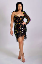 Call Me Goddess Sequin One Sleeve Mini Dress