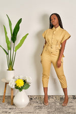 Catch Me If You Can Utility High Neck Jumpsuit with Cap Sleeves and Cropped Leg