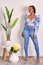 No More Games Long Sleeve Floral Crop Top with Puff Sleeves