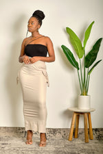 Just Being Me Maxi Skirt with Gathering String - Taupe