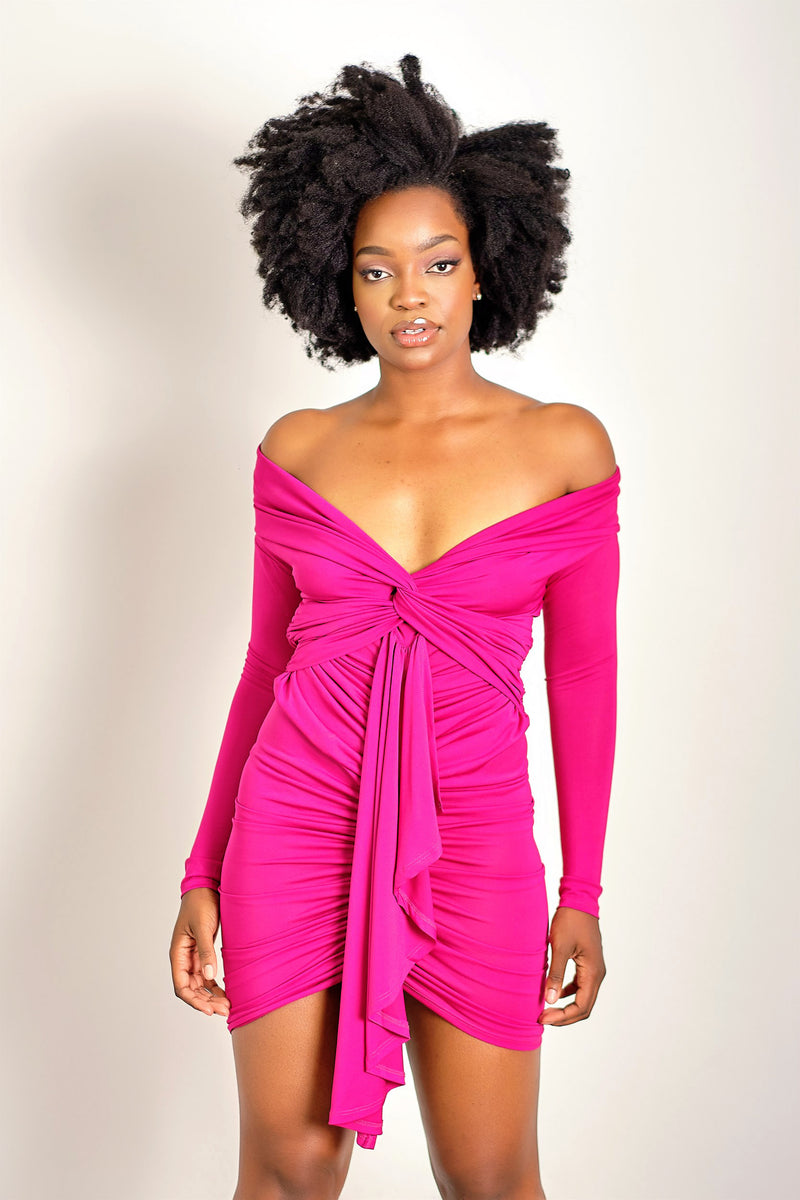You're Super Beautiful Off Shoulder Ruched Dress with Twist Front