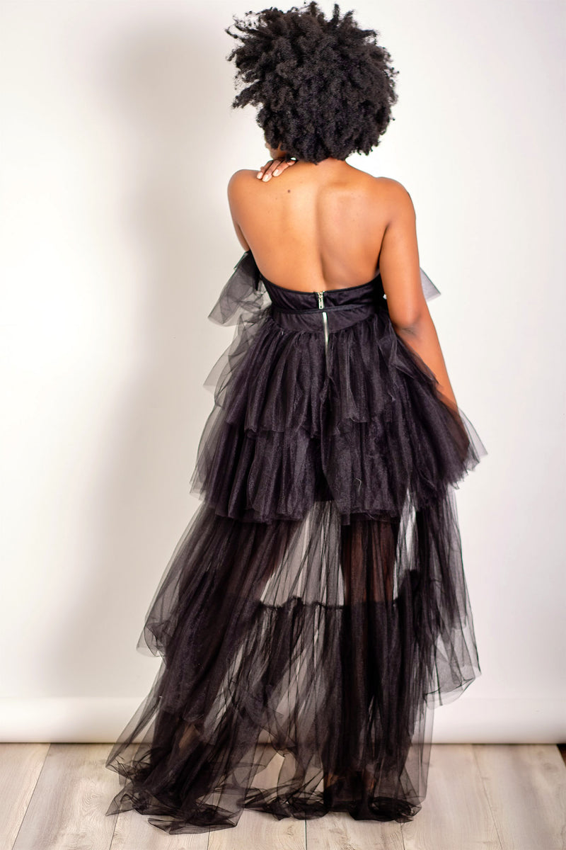 Tulle Cool for School Strapless High Low Tulle Dress