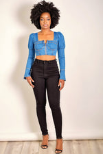 No More Games Long Sleeve Denim Crop Top