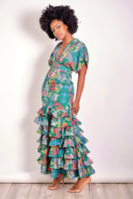 I'm Not Basic Abstract Print Maxi Dress with Tiered Ruffles