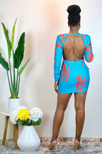 Get On With it Long Sleeve Floral Dress with Open Back - Teal