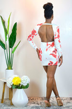 Get On With it Long Sleeve Floral Dress with Open Back - White