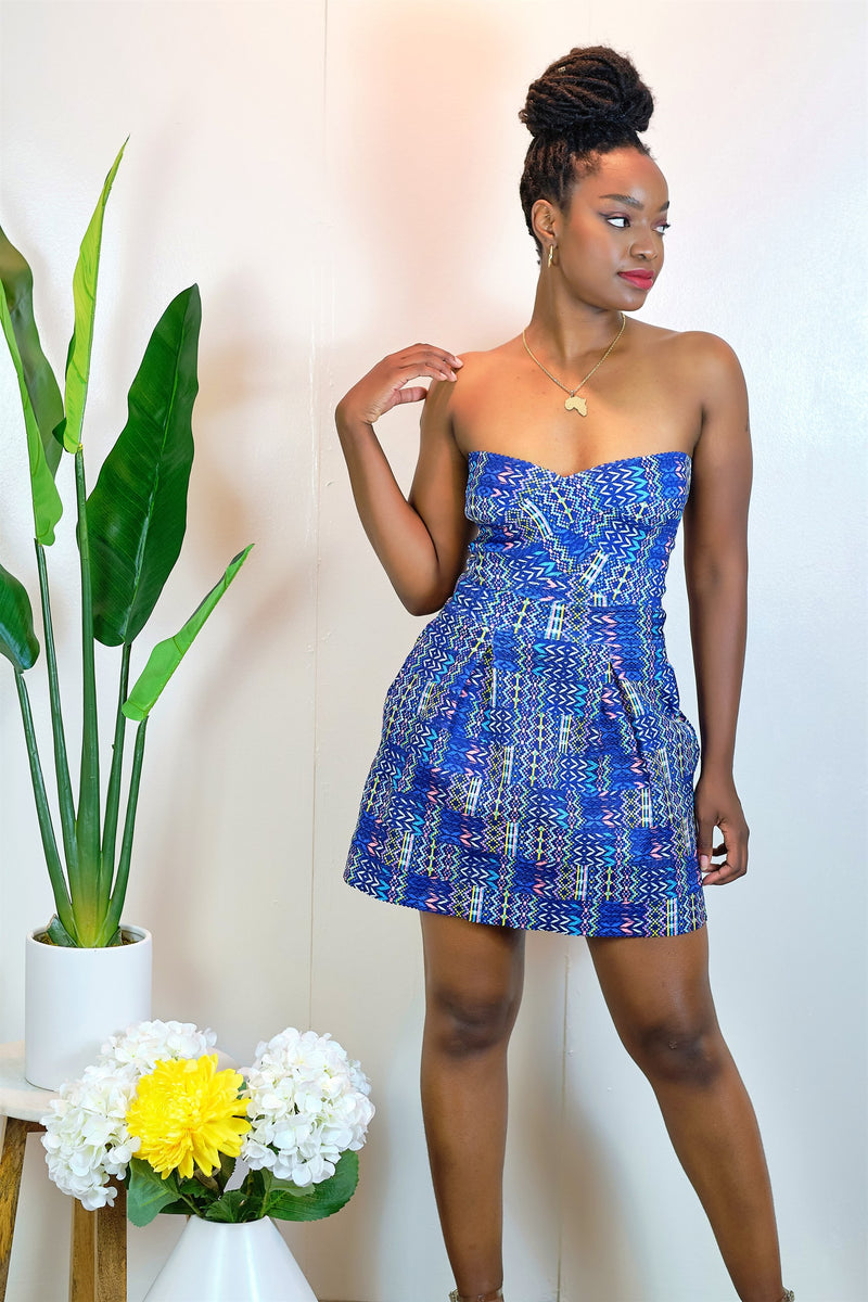 Talk To Me Strapless Print Dress