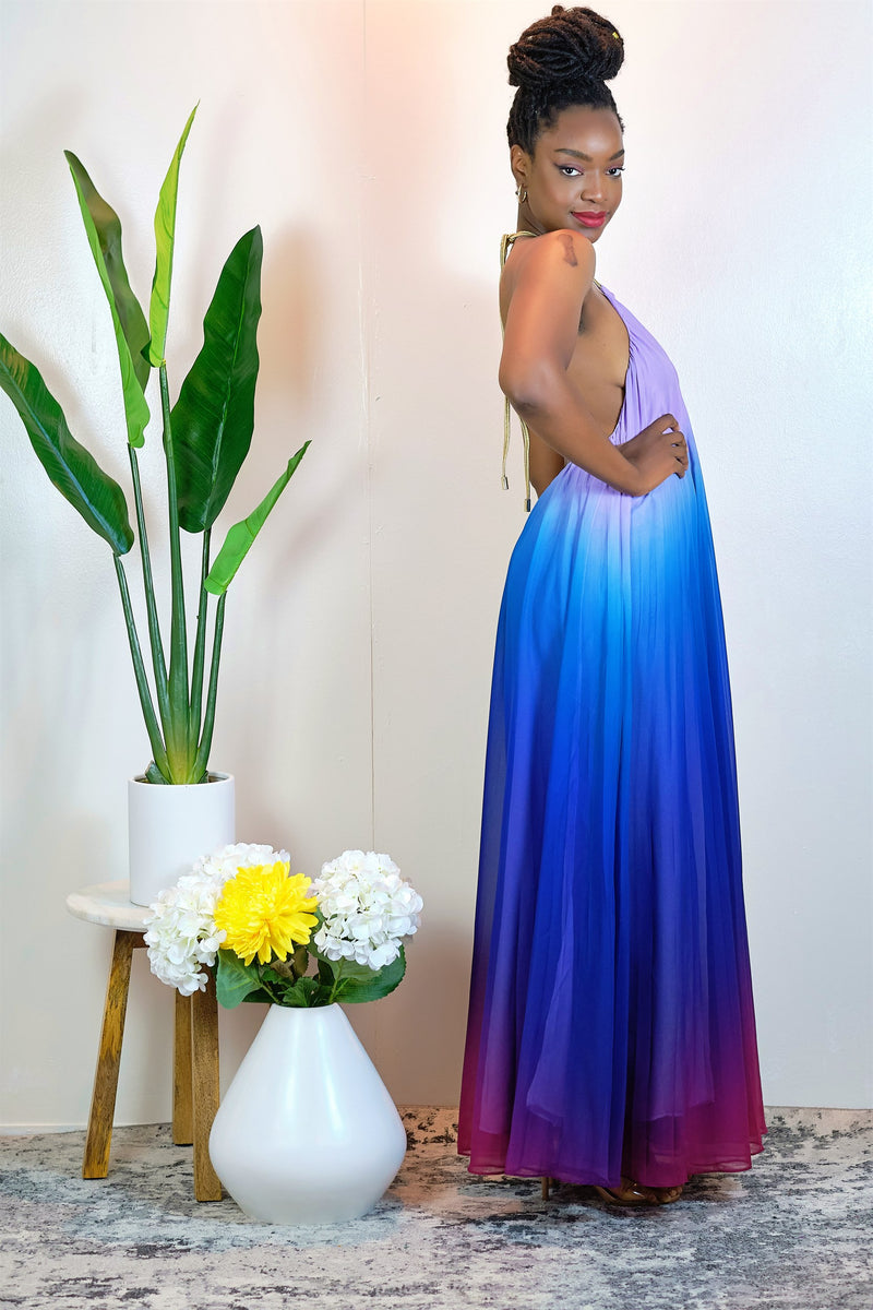 Girls Just Wanna Have Fun Pleated Ombre Halter Maxi Dress