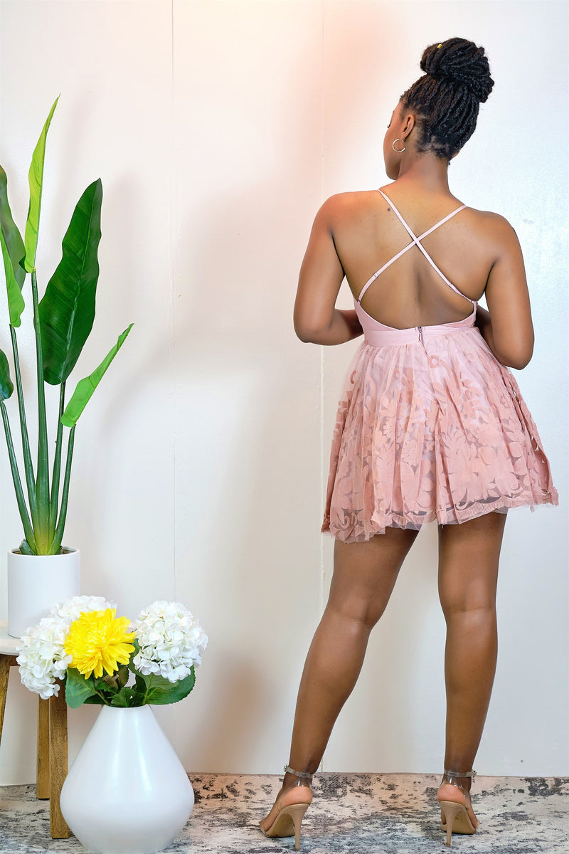 Dance with Me Cross-Back Fit and Flare Mini Dress