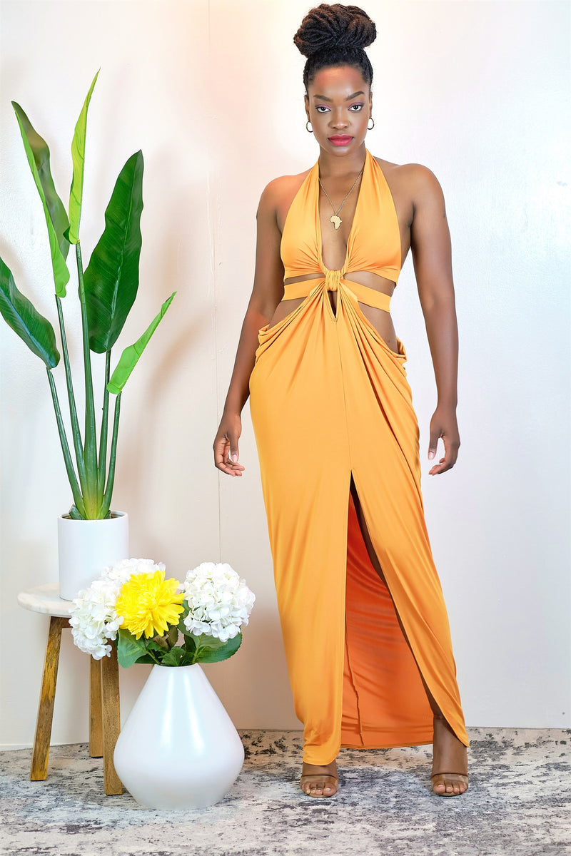 Dare to Be Different Twist Front Halter Maxi Dress with Front Slit