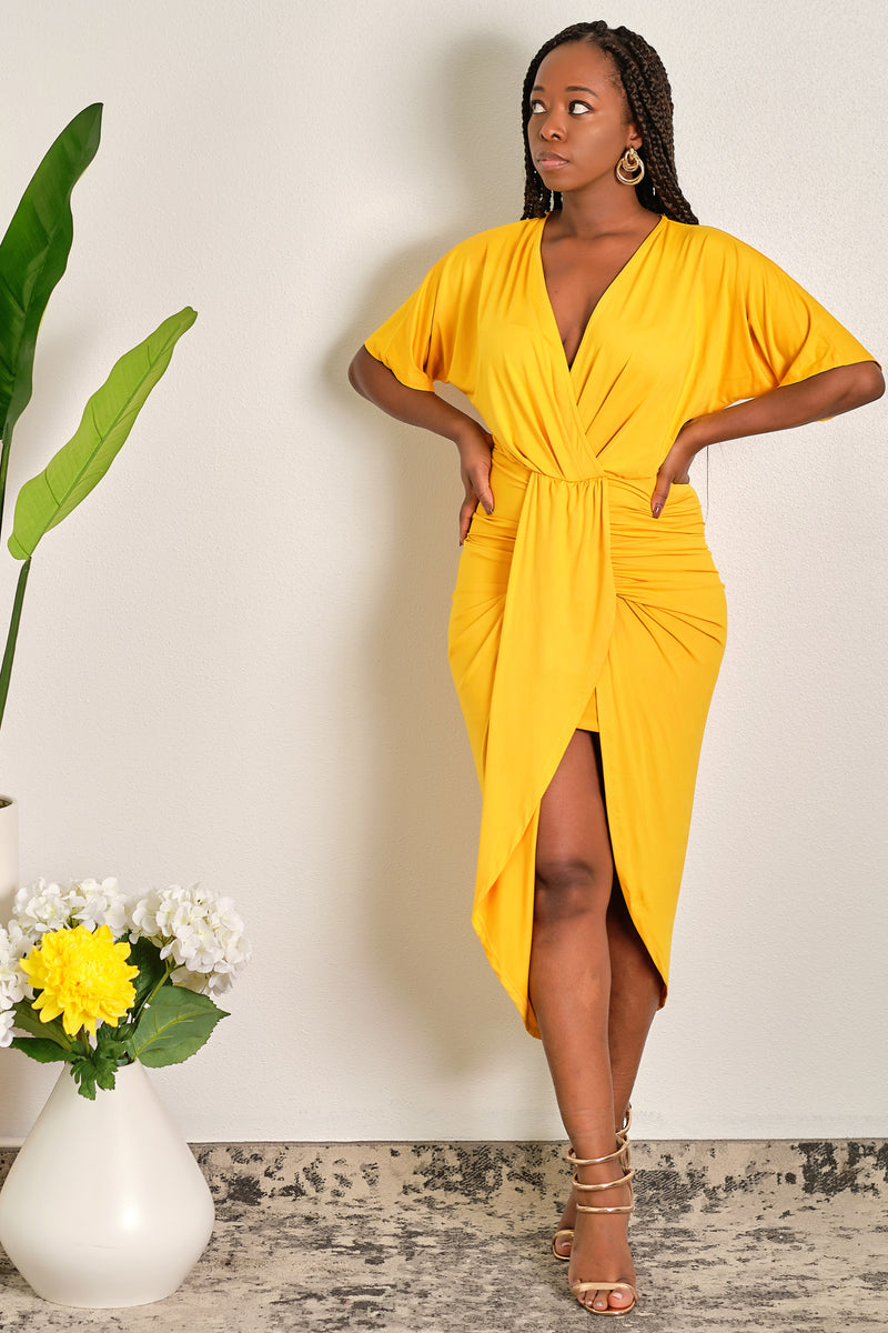 Making Waves Flutter Sleeves Venetian Ruched Bodycon Midi Dress - Yellow