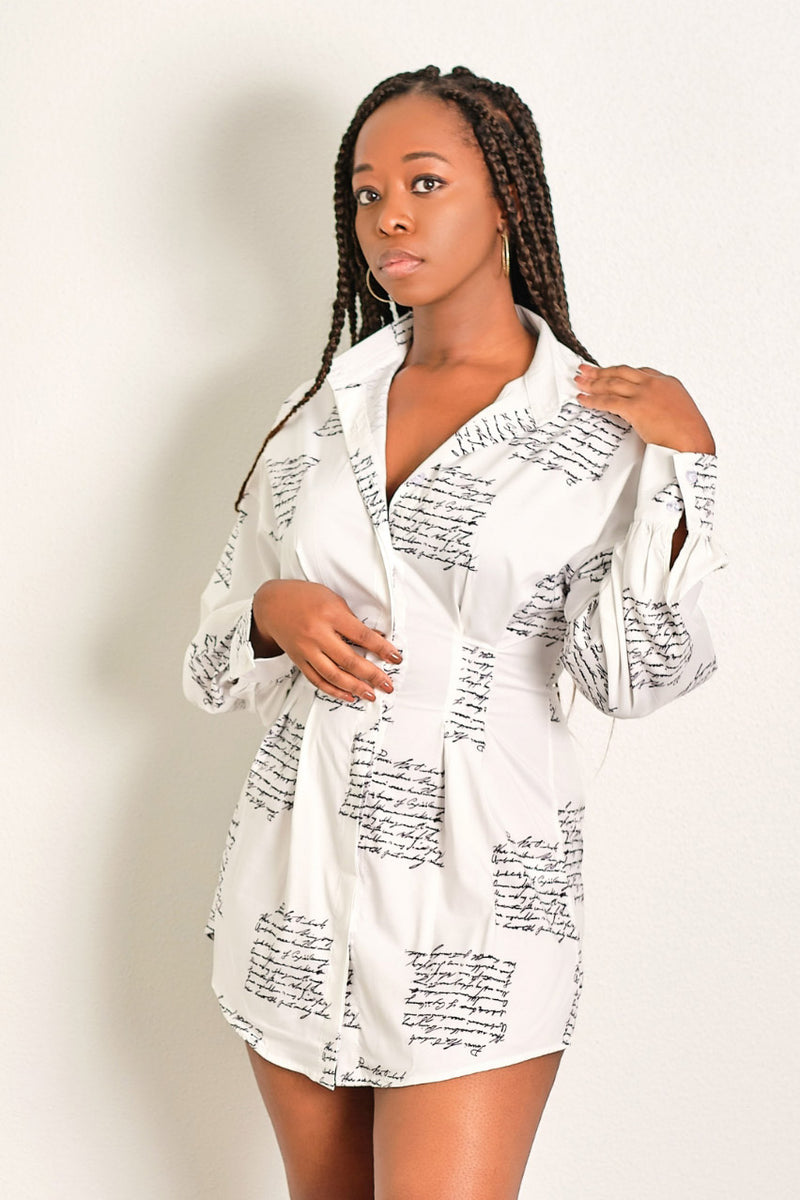Cute Lil Mini Collar Shirt Dress with Subtitle Print