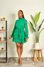 Here For This High Neck Mini Dress - Green