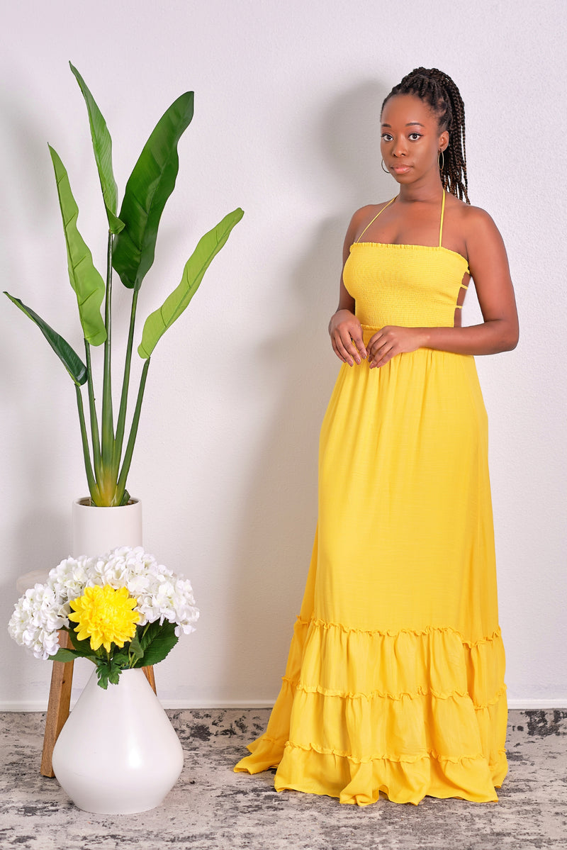 Feeling Like Sunshine Halter Backless Maxi Dress