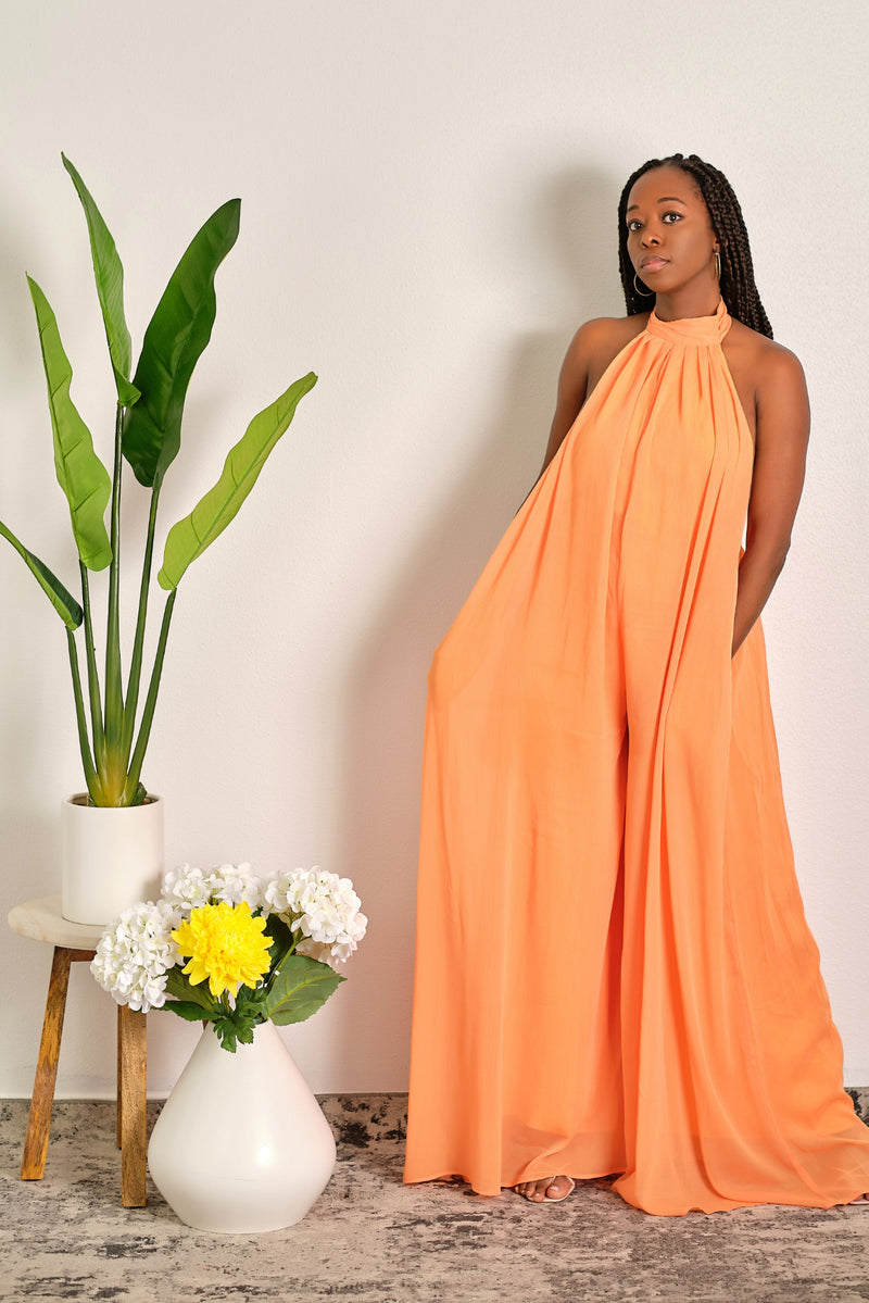 Gotta Have It Backless Halter Wide Leg Jumpsuit - Pastel Orange