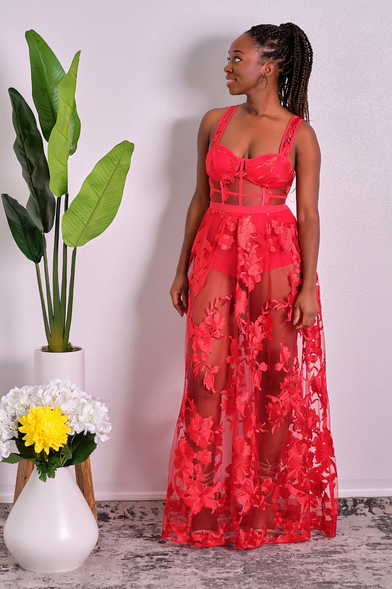 Such A Headturner Floral Lace Maxi Dress - Red