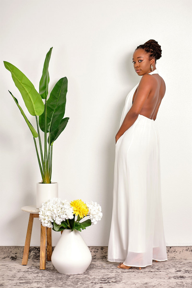 Gotta Have It Backless Halter Wide Leg Jumpsuit - White