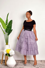 All the Stops Layered Ruffle Tulle Midi Skirt