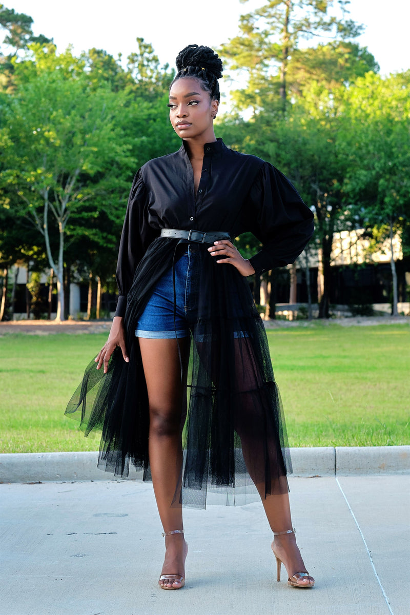 Absolutely Love It Shirt Dress with Extended Tulle