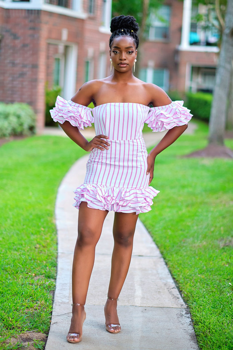 All For You Striped Ruffle Sleeve Mini Dress