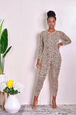 Just the Right Fit Animal Print Jumpsuit with Matching Cardigan