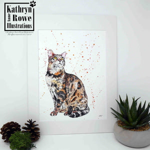 'Sebastian' - Bengal Cat - Original Watercolour Painting