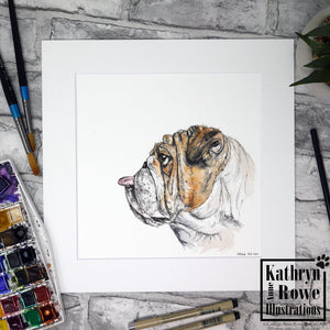 'Winston' - The Cheeky Raspberry Blowing Bulldog -  Original Watercolour Painting