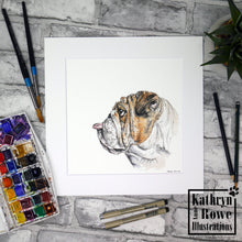 Load image into Gallery viewer, 'Winston' - The Cheeky Raspberry Blowing Bulldog -  Original Watercolour Painting