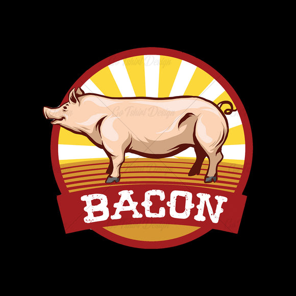 Bacon Pig Retro Food T Shirt Design
